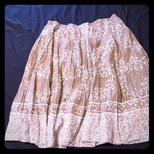 Lined gathered cotton skirt